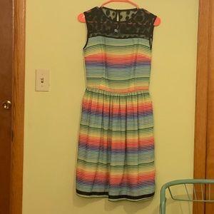 Rainbow and lace ModCloth dress